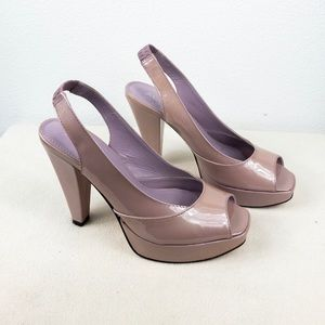 ALDO Patent leather open toe heels, Size 8 /38